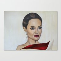 angelina jolie Canvas Prints featuring Angelina Jolie by Halinka H