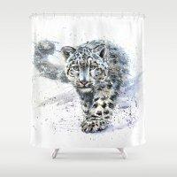 snow leopard Shower Curtains featuring snow leopard by KOSTART