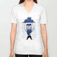 aquarius V-neck T-shirts featuring Aquarius by Yetiland