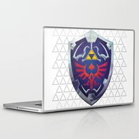 hyrule Laptop & iPad Skins featuring Link - Hyrule Shield - zelda by EramDesign