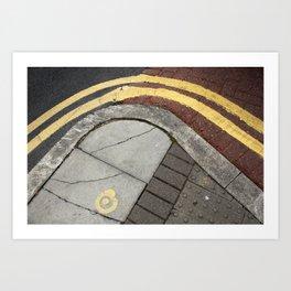 Curvy double yellow lines Art Print