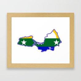 Map of Isla de Margarita with Flag Framed Art Print