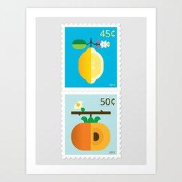 Fruit: Lemon & Persimmon Art Print