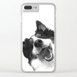Black and White Happy Dog Clear iPhone Case