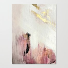 Sunrise [2]: a bright, colorful abstract piece in pink, gold, black,and white Leinwanddruck