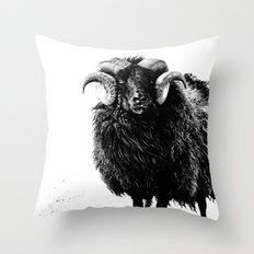 Black Ram Throw Pillow