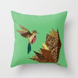 Hummingbird A with gold flower (green) Throw Pillow