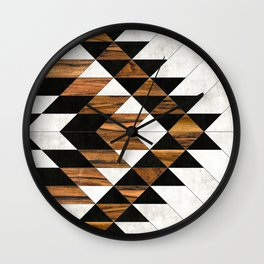 Urban Tribal Pattern 9 - Aztec - Concrete and Wood Wall Clock