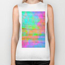 Neon colored abstract geometric triangle design Biker Tank