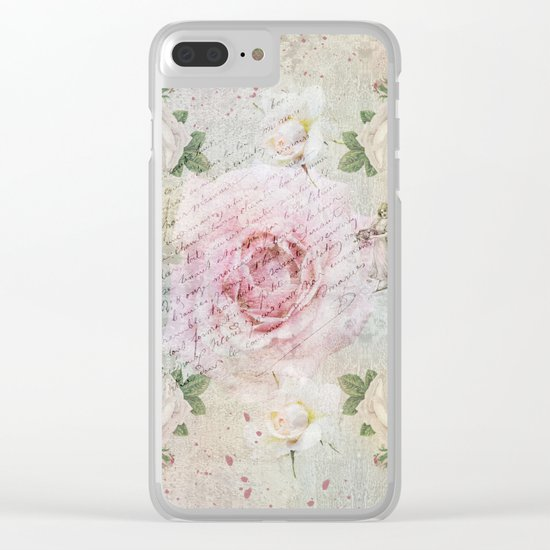 Romantic vintage roses and French handwriting Clear iPhone Case