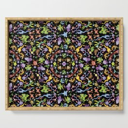 Terrific monsters posing for a colorful pattern design Serving Tray