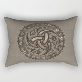 Odin's Horn - Beige Leather and gold Rectangular Pillow