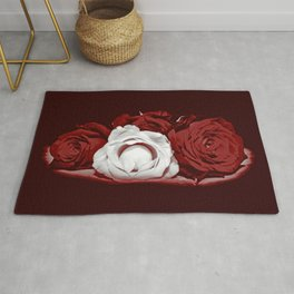 Deep Red and White Roses Rug