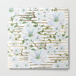Elegant white faux gold stripes watercolor hand painted floral Metal Print