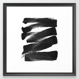 Black Brushstrokes Abstract Ink Painting Framed Art Print
