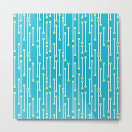 Modern Dotted Lines in Turquoise, Yellow and White Metal Print