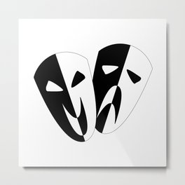 Black and White Stage Masks Metal Print