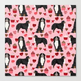 Bernese Mountain Dog custom valentines day gift for dog lover pet art love dogs Canvas Print