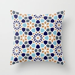 Persian Mosaic – Blue & Gold Palette Throw Pillow