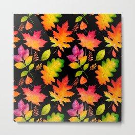 Fall Leaves Watercolor - Black Metal Print
