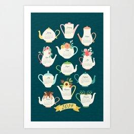 2019 Floral Teapot Calendar Art Print