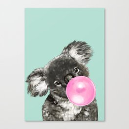 Playful Koala Bear with Bubble Gum in Green Canvas Print