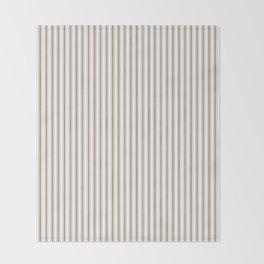 Mattress Ticking Narrow Striped Pattern in Dark Brown and White Throw Blanket