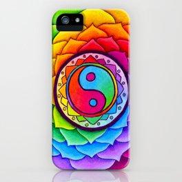 Healing Lotus Rainbow Yin Yang Mandala iPhone Case