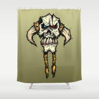 viking Shower Curtains featuring Viking skull  by N.Kachaktano