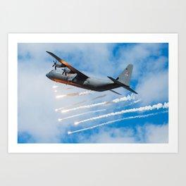 C-130 Hercules flares Art Print