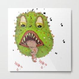 green monster with flies Metal Print