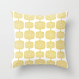 Mid Century Modern Atomic Rings Pattern Mustard Yellow 3 Throw Pillow