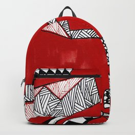Red Abstract Composition Backpack