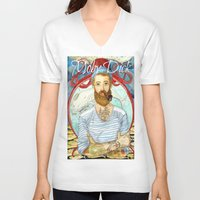 dick V-neck T-shirts featuring Moby Dick by Rose Draft