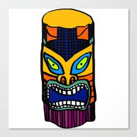 tiki Canvas Prints featuring tiki by vidikay