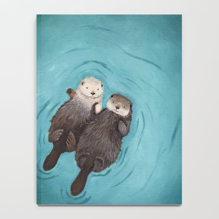 Otterly Romantic - Otters Holding Hands Notebook