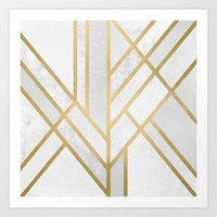 deco Art Prints featuring Art Deco Geometry 2 by Elisabeth Fredriksson