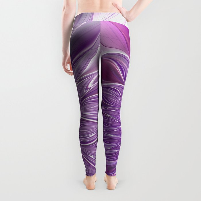 Pink Flower Passion, Abstract Fractal Art Leggings