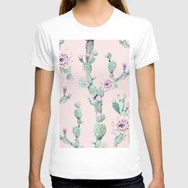 Cactus Rose Pattern on Pink T-shirt