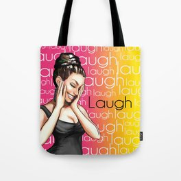 Retro Pinup Girl Laugh Typography Tote Bag