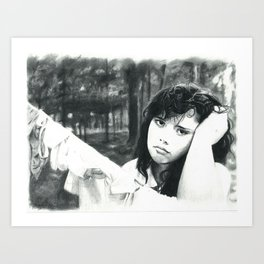 Girl with the Clothes Line Art Print