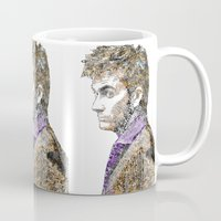 david tennant Mugs featuring David Tennant Dr. Who Text portrait by Mike Clements