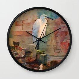Snowy Egret Sunrise Wall Clock
