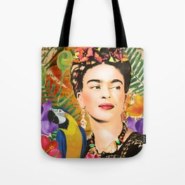 Frida and the parrot Tote Bag