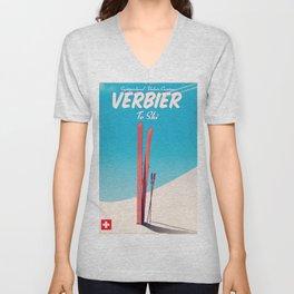 Verbier Switzerland vintage ski poster Unisex V-Neck