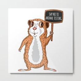 Guinea Pig No To Animal Testing Metal Print