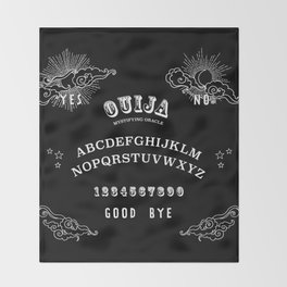 Ouija Board White on Black Throw Blanket