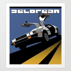 Delorean - Retro Poster; Blue Art Print