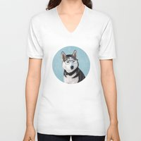 husky V-neck T-shirts featuring Mr Husky by Roberta Jean Pharelli