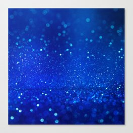 Abstract blue bokeh light background Canvas Print